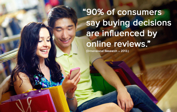 """Image of a smiling couple looking at a smartphone with the text """"90% of consumers say buying decisions are influenced by online reviews"""" superimposed on the image."""