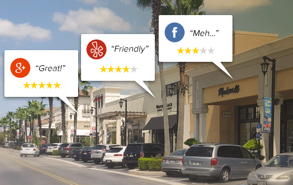 Image showing a street of storefronts with examples of online review ratings for a few of the stores.