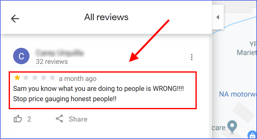 Fake Google Review